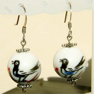 Dangle Oriental Bird on the Branch Sterling Silver Earrings