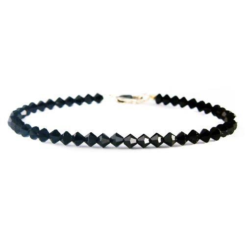Everyday Swarovski Crystal Jet Black Sterling Silver Bracelet