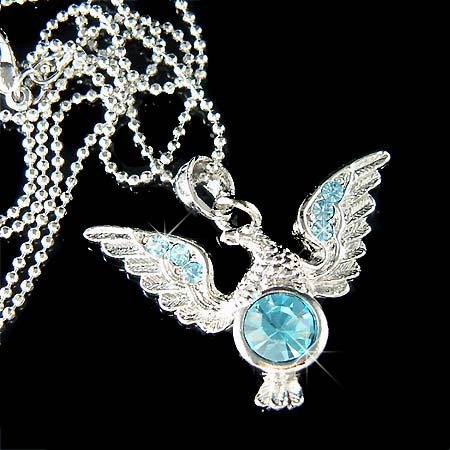 Aqua Swarovski Crystal Hawk Bird American Eagle Pendant Necklace