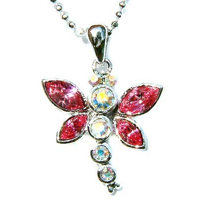 Bridal Wedding Swarovski Crystal Pink Dragonfly Pendant Necklace