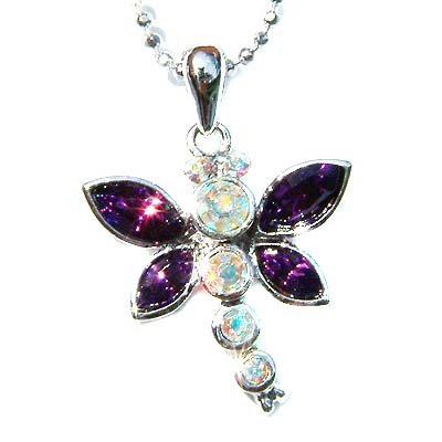 Bridal Purple Swarovski Crystal Cute Dragonfly Pendant Necklace