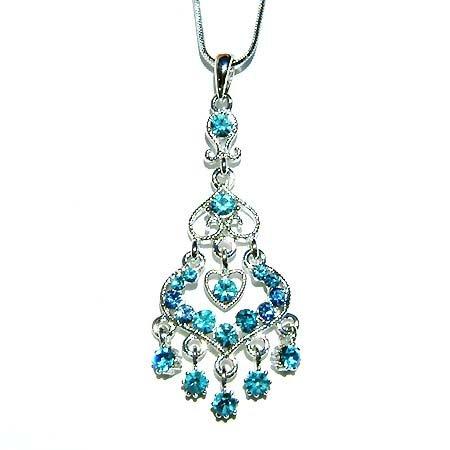 Swarovski Crystal Bridal Aqua Blue Chandelier Pendant Necklace