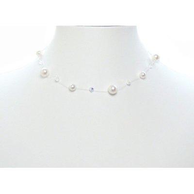 Floating Illusion Bridal Swarovski Crystal Pearl Silver Necklace