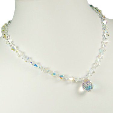Swarovski Crystal AB Bridal Wedding Teardrop Pendant Necklace