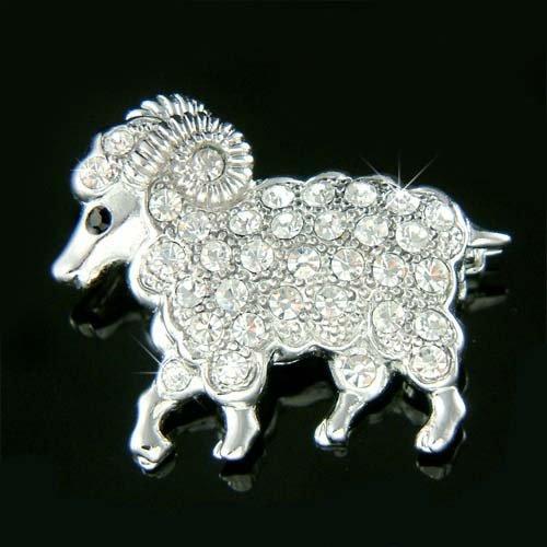 Wild Mountain Animal Swarovski Crystal Big Horn Sheep Brooch