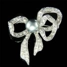Swarovski Crystal Gray Pearl Filigree Bow Wedding Dress Brooch