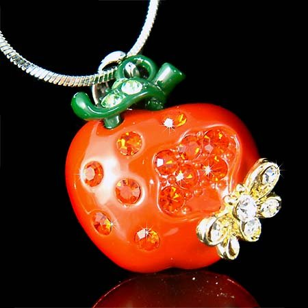 Swarovski Crystal Juicy Puffed Apple Bumble Bee Pendant Necklace