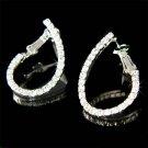 """Modern Swarovski Pave Crystal Curve """"J"""" """"L"""" Line Hoop Earrings"""