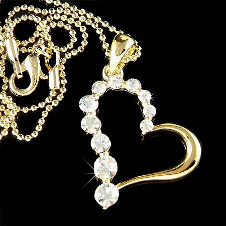 Classy Gold Swarovski Crystal Cut Out Heart Pendant Necklace