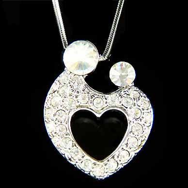 Forever Love Mother Baby Child Hold Hands Crystal Heart Necklace