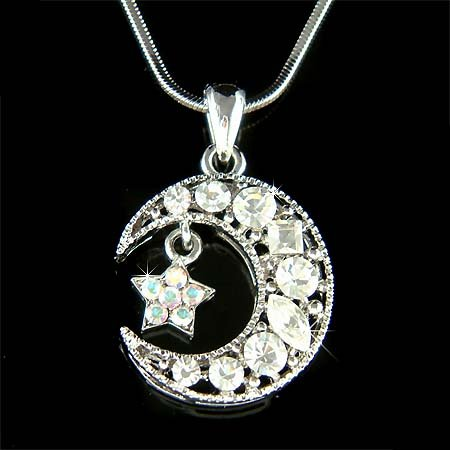 Swarovski Crystal Crescent Clear Moon Star Pendant Necklace