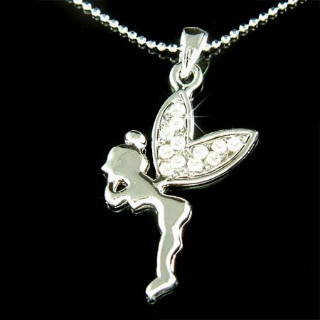 Clear Tinkerbell Fairy Wings Swarovski Crystal Pendant Necklace