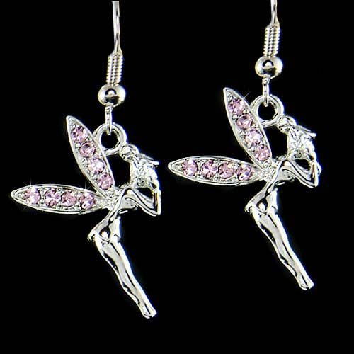 Light Purple Couture Swarovski Crystal Tinkerbell Fairy Earrings