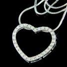 Sparkling Bridal Wedding Swarovski Crystal Cutout Heart Necklace