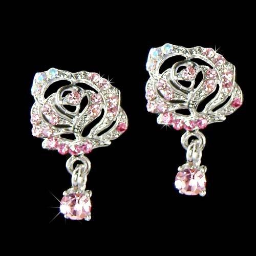 Swarovski Crystal Cutout Pink Rose Flower Floral Stud Earrings