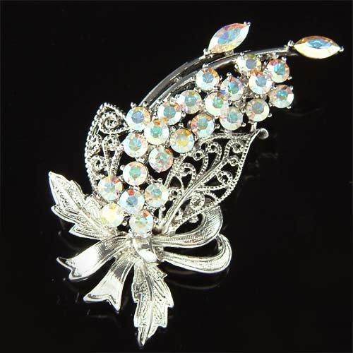 Swarovski Crystal Floral Wedding Flower Pendant Bouquet Brooch