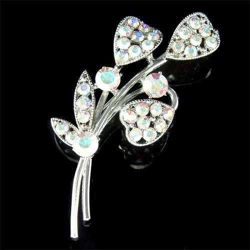Bridal Wedding Swarovski Crystal Calla Lily Heart Flower Brooch
