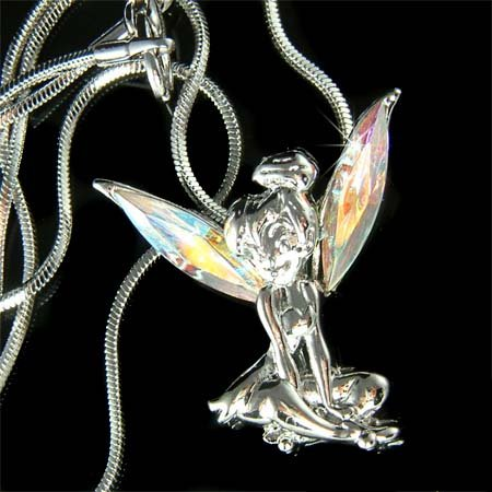 Swarovski Crystal Tink Tinkerbell Fairy Wings Pendant Necklace