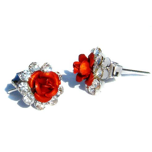 Sexy Bridal Swarovski Crystal Hot Red Rose Flower Stud Earrings
