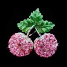 Sexy Swarovski Crystal Juicy Pink Cherry Pendant Brooch 2 in 1