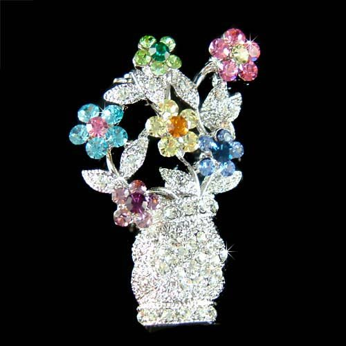 Swarovski Crystal Rainbow Blossom Flower Pot Vase Brooch
