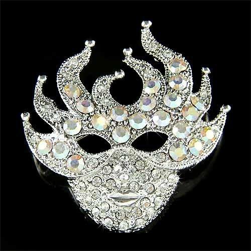 Mardi Gras Costume Must Have! Swarovski Crystal Mask Brooch