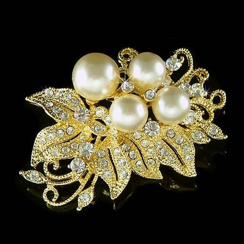 GP Bridal Wedding Flower Pearl Swarovski Crystal Bouquet Brooch
