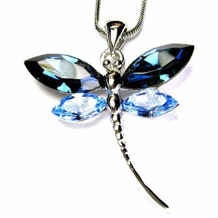 Bridal Swarovski Crystal Dark Blue Dragonfly Pendant Necklace