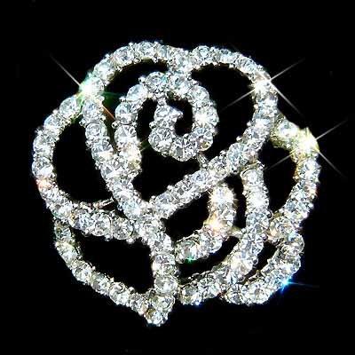 Bridal Swarovski Crystal Cutout Rose Flower Bouquet Brooch