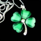 Swarovski Crystal Lucky 4-Leaf Clover Shamrock Pendant Necklace