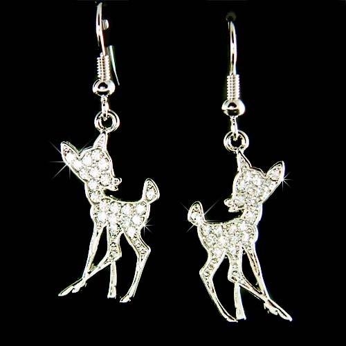 Cute Swarovski Crystal Bambi Fawn Deer Lover Pendant Earrings