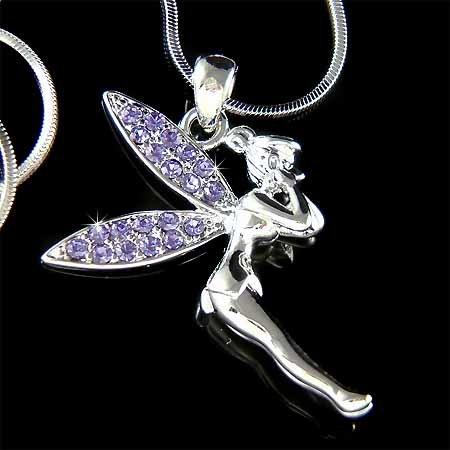 Purple Tinker Bell Swarovski Crystal Tinkerbell Pendant Necklace