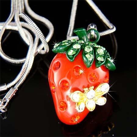 Swarovski Crystal Juicy Strawberry Bumble Bee Pendant Necklace
