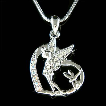 Swarovski Crystal Tinkerbell Fairy & Dragonfly in Heart Necklace
