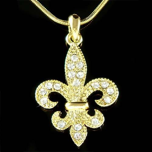 Gold Swarovski Crystal Lily Flower Fleur de Lis Lys Necklace