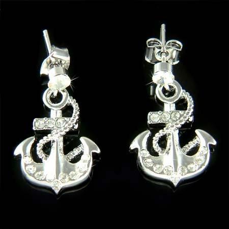Swarovski Crystal Beach Wedding Yacht Anchor Nautical Earrings