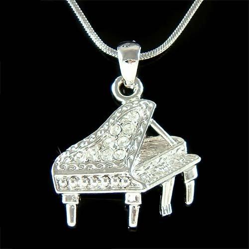 Music Player Swarovski Crystal Baby Grand Piano Pendant Necklace