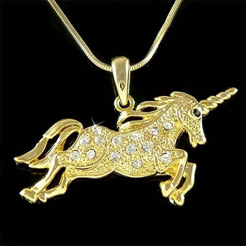 Gold Single-horned Horse Swarovski Crystal Unicorn Necklace