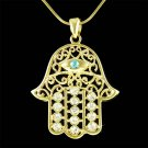 Gold Crystal Jewish Hamsa Hamesh Fatima Hand Evil Eye Necklace