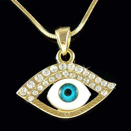 Gold Swarovski Crystal Ward Off Evil Eye Protection Necklace