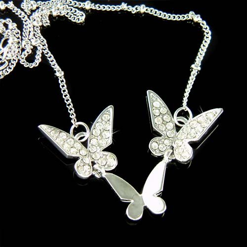 Bridal Swarovski Crystal 3 Butterfly Sisters or Friends Necklace