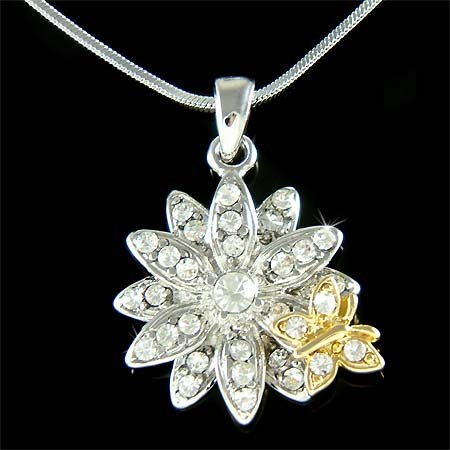 Swarovski Crystal Silver Flower Gold Butterfly Pendant Necklace
