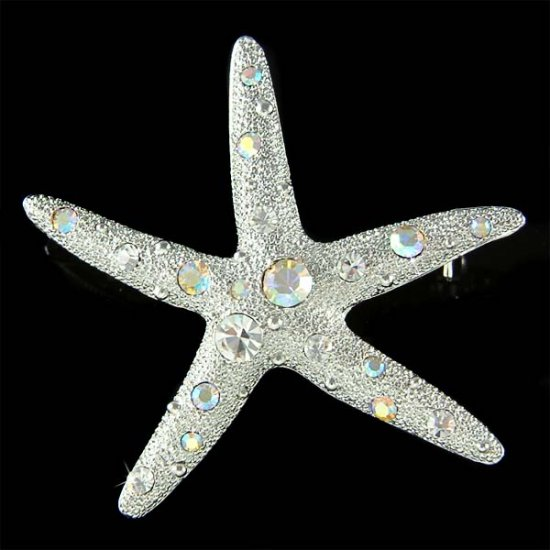 Beach Wedding Swarovski Crystal Bridal Starfish Brooch for Dress
