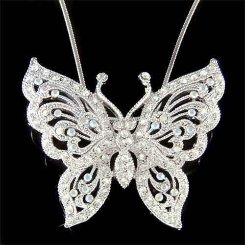 Big Swarovski Crystal Wedding Cutout Filigree Butterfly Necklace