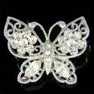 Clear Filigree Butterfly Flower Swarovski Crystal Bridal Brooch