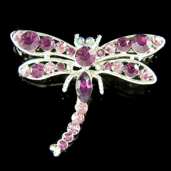Purple Swarovski Crystal Bridal Wedding Dragonfly Brooch