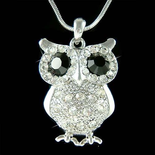 Swarovski Crystal Wise Owl on the branch Wisdom Teacher Necklace