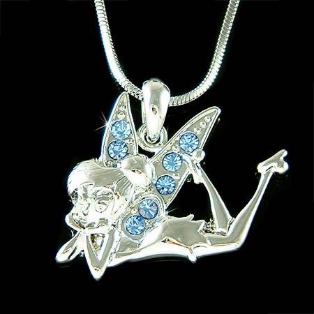 Blue Swarovski Crystal Tinkerbell Fairy Tinker Bell Necklace