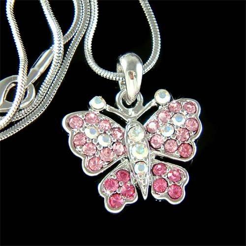 Elegant Bride Pink Butterfly Swarovski Crystal Pendant Necklace