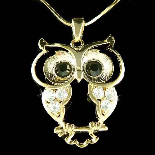 Swarovski Crystal Wise Owl Wisdom Teacher Smart Student Necklace